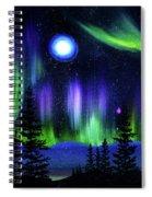 Pine Trees In Aurora Borealis Spiral Notebook