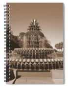 Pineapple Fountain Charleston S C Sepia Spiral Notebook