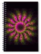 Pink And Green Fractal Sun Spiral Notebook