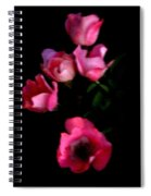Pink And White Flowers On Black Spiral Notebook