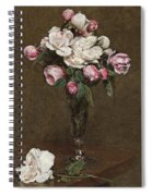 Pink And White Roses In A Champagne Flute Spiral Notebook
