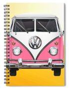 Pink And White Volkswagen T 1 Samba Bus On Yellow Spiral Notebook