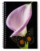 Pink Calla Lily With Butterfly Spiral Notebook