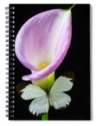 Pink Calla Lily With White Butterfly Spiral Notebook