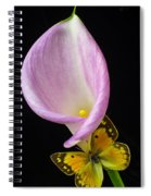 Pink Calla Lily With Yellow Butterfly Spiral Notebook