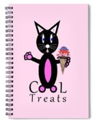 Pink Cool Treats - Cat Typography Spiral Notebook