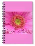 Pink Daisy Birthday Card Spiral Notebook