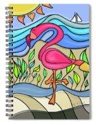Pink Flamingo Glassy Spiral Notebook
