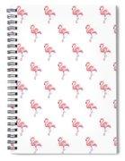 Pink Flamingo Watercolor Pattern Spiral Notebook