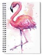 Pink Flamingo Watercolor Tropical Bird Spiral Notebook