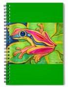 Pink Frog On Leafs Spiral Notebook