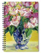 Pink Roses In Blue Deft Vase Spiral Notebook