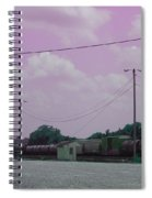Pink Sky And Trains Spiral Notebook