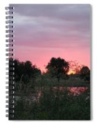 Pink Sunset With Green Riverbank Spiral Notebook