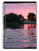 Pink Sunset With Soft Waves In Black Framing Spiral Notebook