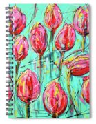 Pink Tulip, Turquoise Spiral Notebook