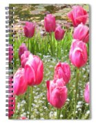 Pink Tulips By Peaceful Pond Spiral Notebook