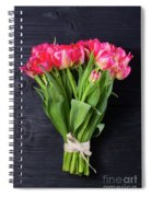 Pink Tulips On Black Spiral Notebook