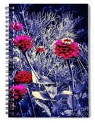 Pink Zinnia's Against A Silver Background Spiral Notebook
