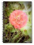 Pinkish Orange Zinnia On Green Background Spiral Notebook