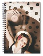 Pinup Dj Rocking Around The Clock  Spiral Notebook