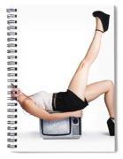 Pinup Girl Balancing On Television Set Spiral Notebook