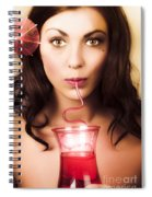 Pinup Poster Girl Drinking At Retro Cocktail Party Spiral Notebook