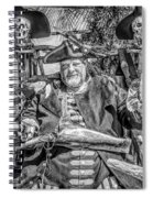 Pirate Captain And Parrots Black And White Spiral Notebook