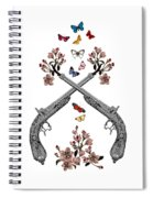 Pistols Wit Flowers And Butterflies Spiral Notebook