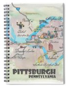 Pittsburgh Pennsylvania Fine Art Print Retro Vintage Map With Touristic Highlights Spiral Notebook