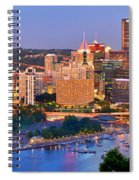 Pittsburgh Pennsylvania Skyline At Dusk Sunset Panorama Spiral Notebook