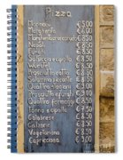Pizza Menu Florence Italy Spiral Notebook