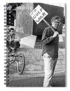Placard Carrier No Gulf War Rally Federal Building Tucson Arizona 1991  Spiral Notebook