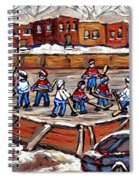 Playoff Time At The Local Hockey Rink Montreal Winter Scenes Paintings Best Canadian Art C Spandau Spiral Notebook