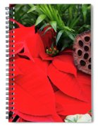 Poinsettia Basket For Christmas Spiral Notebook