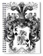Poker King Spades Black And White Spiral Notebook
