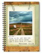 Polaroid On Weathered Wood With Bible Verse Spiral Notebook