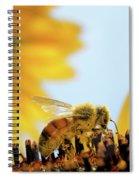 Pollen-coated Honey Bee On A Sunflower Spiral Notebook