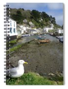 Polperro Harbour Cornwall And Seagull Spiral Notebook