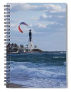 Pompano Beach Kiteboarder Hillsboro Lighthouse Spiral Notebook