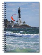 Pompano Beach Kiteboarder Hillsboro Lighthouse Waves Spiral Notebook