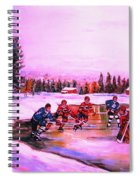 Pond Hockey Warm Skies Spiral Notebook