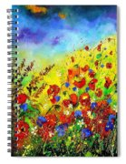Poppies And Blue Bells Spiral Notebook