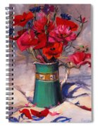 Poppies And Cornflowers In Green Jug Spiral Notebook