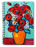 Poppies And Daisies Bouquet Spiral Notebook