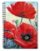 Poppy Love Floral Scene Spiral Notebook