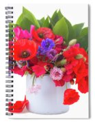 Poppy With Sweet Pea And Corn Flowers On White Spiral Notebook