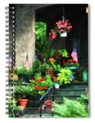 Porch With Geraniums And American Flags Spiral Notebook