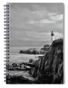 Portland Head Lighthouse - Cape Elizabeth Maine In Black And White Spiral Notebook