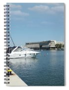 Porto Carras Harbor With Yacht And Resort Spiral Notebook